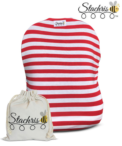 Red Stripe Infant Car Seat Cover