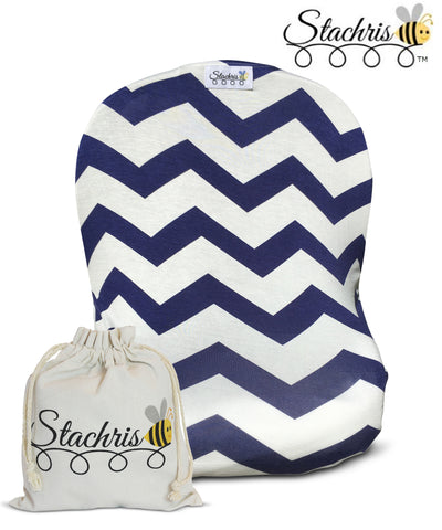 Blue Chevron Infant Car Seat Cover