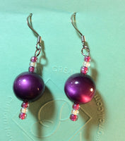 Purple 'Cat's Eye' Acrylic Stainless Earrings