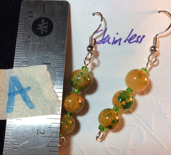 Yellow Orange and Green Glass Stainless Earrings