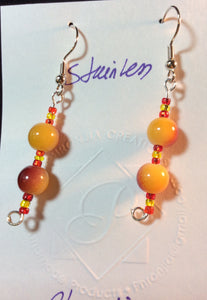 Yellow and Burnt Orange Glass Stainless Earrings