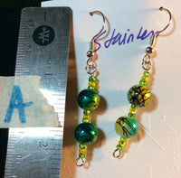 Yellow Blue Metalic Glass Bead Stainless Earrings