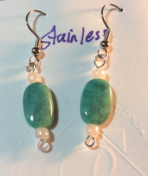Turquoise Color Stone Stainless Earrings