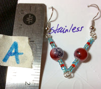 Red White and Blue Glass Stainless Earrings