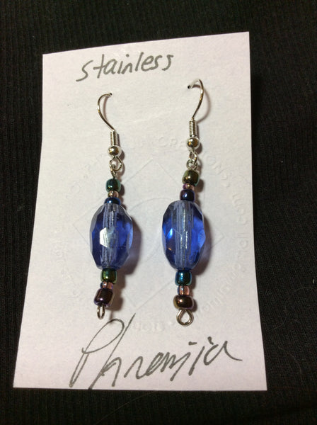 Periwinkle Multi-Faceted Glass Earrings