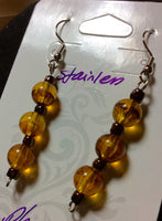 Amber Glass Stainless Earrings