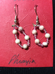 Pink Stone Stainless Earrings