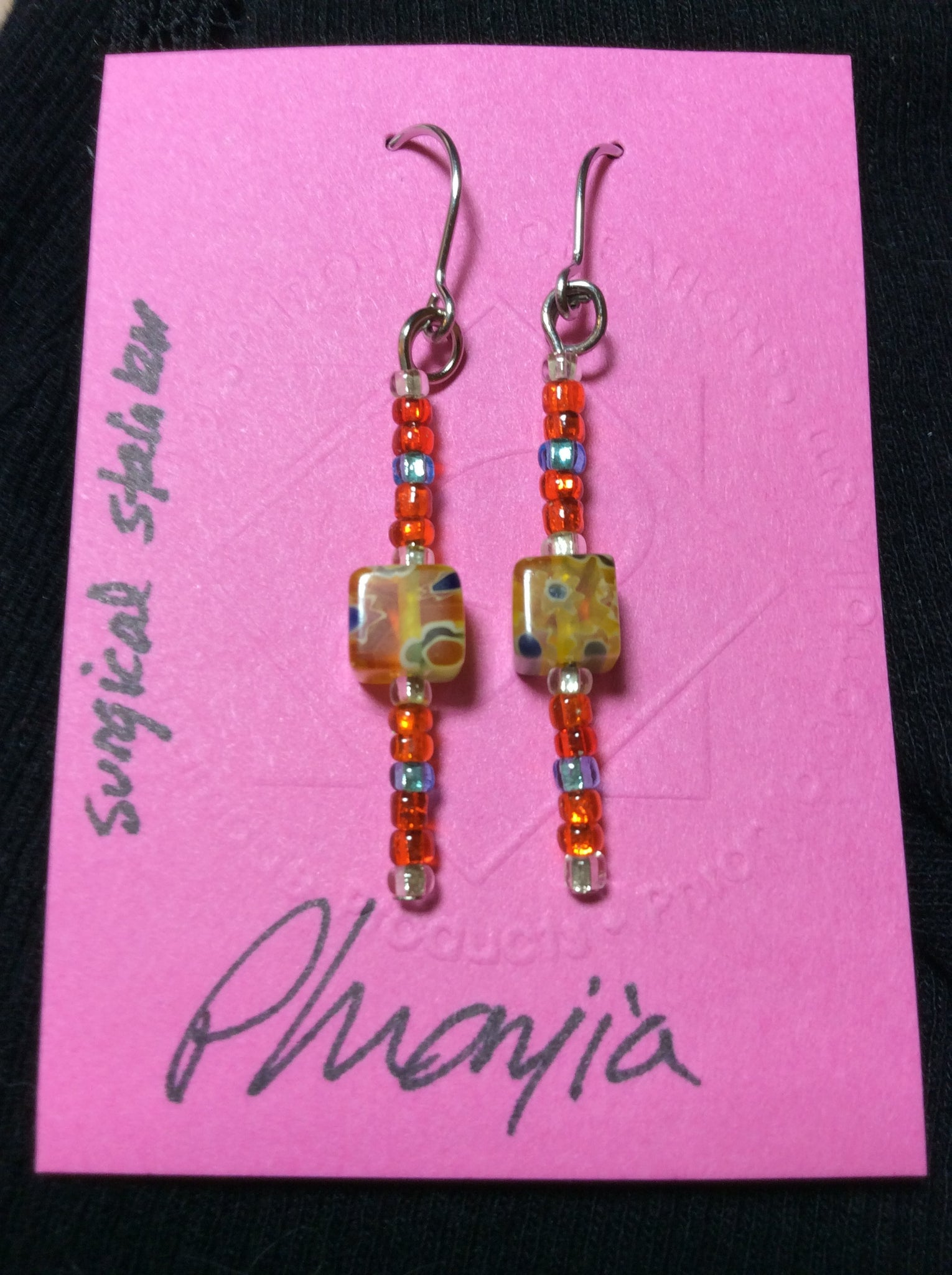 Yellow Square Artistic Glass Bead Stainless Earrings