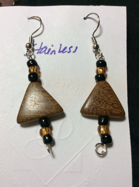 Triangular Wood Stainless Earrings