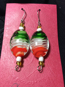 Green White and Orange Swirl Glass Stainless Earrings