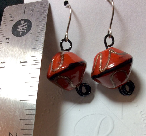 Ceramic Orange Bead Stainless Earrings