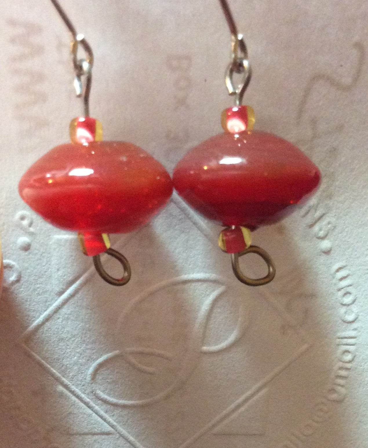 Brick Red Vintage Glass Bead Stainless Earrings