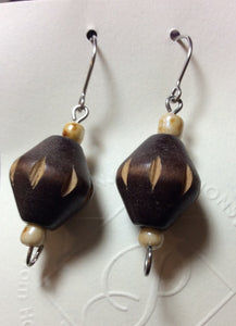 Hand Carved Wood Bead Stainless Earrings