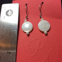 Snow White Mother of Pearl Disc Stainless Earrings