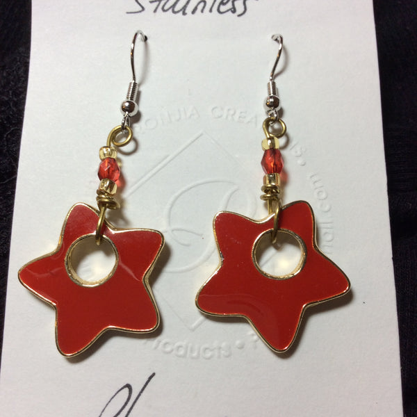 Red Star Enameled Stainless Earrings
