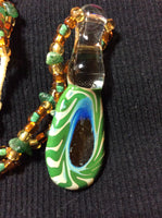 Lampwork Glass and Adventurine Necklace