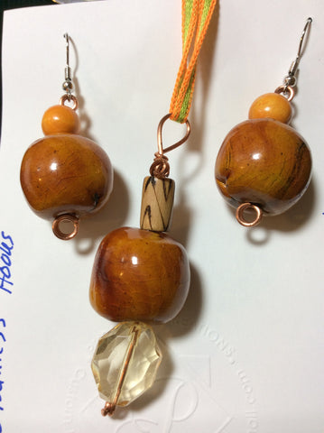 Unique Wood Beads Pendant and Stainless Earrings