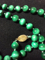 Vintage Malachite Necklace with Silver Clasp