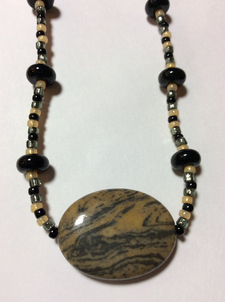 Taupe Polished Stone Necklace