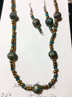 Turquoise Acrylic and Glass Necklace and Earrings Set