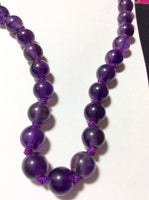Amethyst Quartz Necklace Handmade with Vintage Silver Clasp