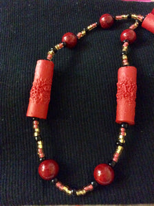 Faux Coral Necklace and Earrings