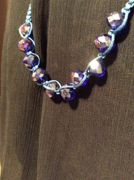 Vintage Blue Faceted Crystal Hand Tied extra ordinary