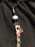 Long Spoon Handle Pendant with Purple Glass Beads