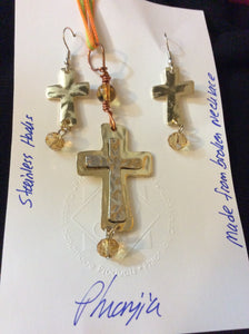 Cross Pendant and Earring Set