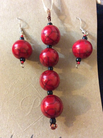 Red Ball Acrylic Pendant and Stainless Earrings