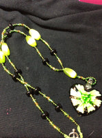 Green Flower Heart Shaped Lampwork Necklace and Stainless Earrings