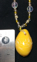 "Bright Yellow Acrylic 25"" Handmade Necklace"