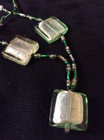 Green Glass Squares with Silver Leaf Necklace