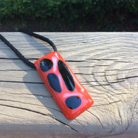 Large Red and Black Fused Glass Pendant