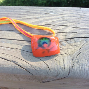 Orange 'Dolphin' Fused Glass Pendant