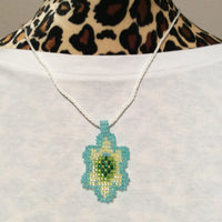 Pastel Glass Bead Weaving Flower Pendant