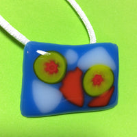 Blue, Orange, Lime Green and White Fused Glass Pendant
