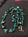 Turquoise, Black and White Glass Bead Handmade Necklace