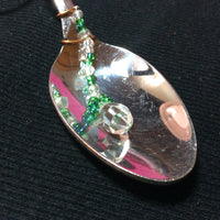 Shiny Crystal and Spoon Handmade Pendant