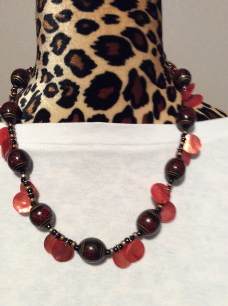 Vintage Asian Wood Bead and Red MOP Handmade Necklace