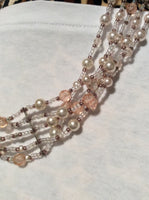 Five Strand Vintage Crystal and Glass Pearls Necklace