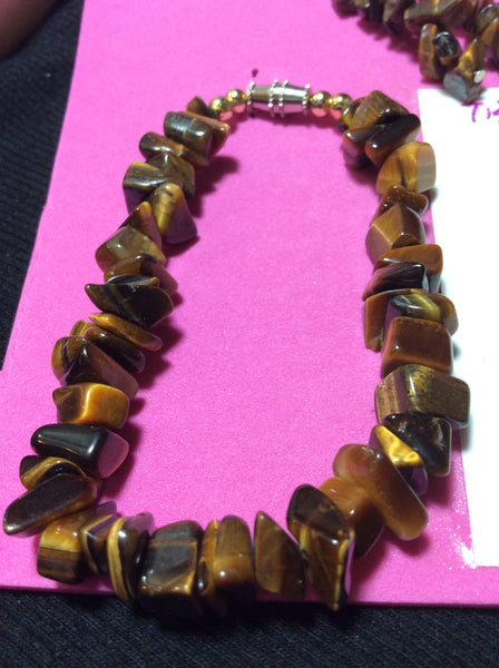 Tiger's Eye Stone Bracelet and Dangle Earrings