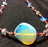 Opal Glass and Crystal Handmade Necklace