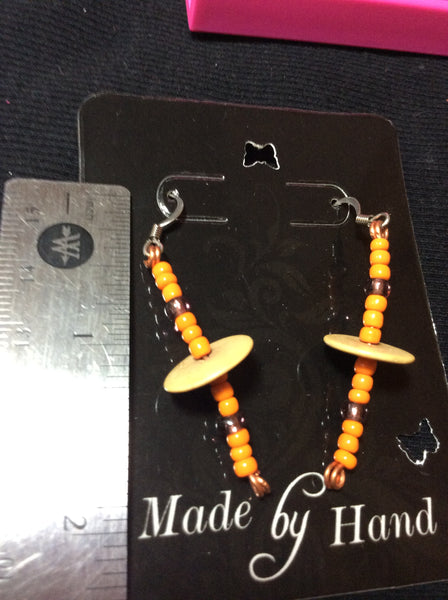 Orange Dangle Stainless Earrings