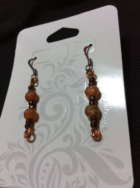 Amber Colored Glass Handmade Stainless Earrings
