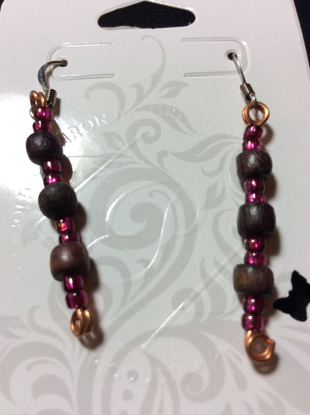 Fuschia Glass and Small Wood Bead Handmade Earrings