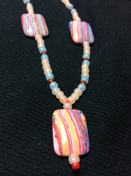 Pastel Striped Glass Handmade Necklace