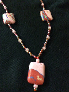 Coral and Pink Glass Bead Handmade Necklace