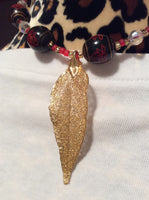 Gold Dipped Leaf Handmade Necklace