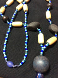 Denim Wood Bead and Glass Bead Handmade Necklace